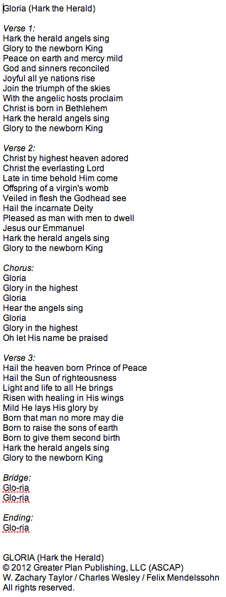 Worship Current Song: Gloria (Hark the Herald)